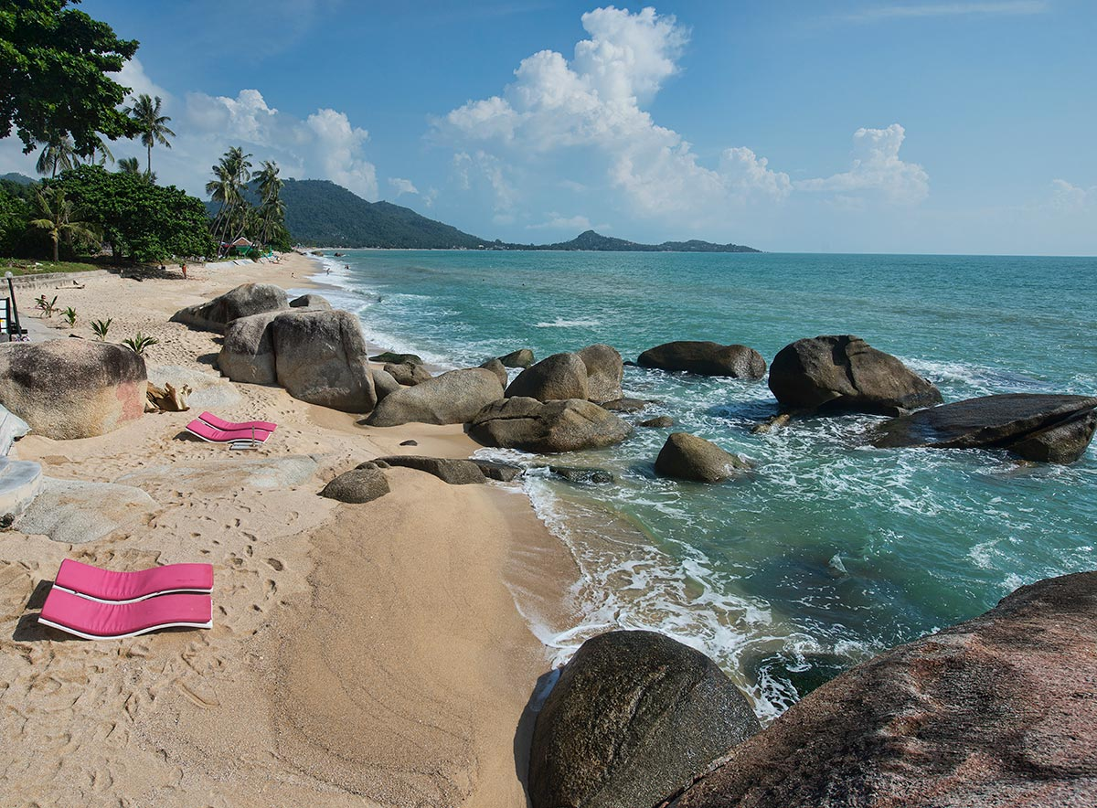 Along the beach in Lamai on Koh Samui island, Thailand