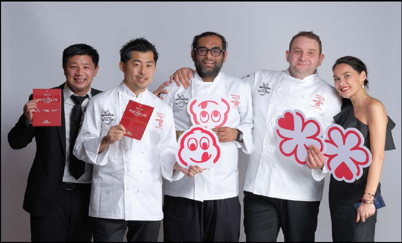 Two-star winners, from left, in chef whites, Chef Kawasaki, Chef Gaggan and Chef Sauthier