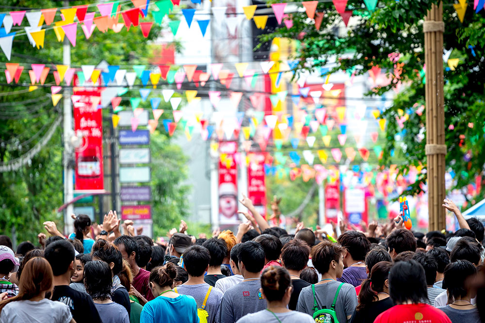 Siam Square attracts large crowds during the Thai water festival.
