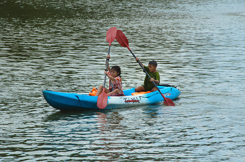 Kayaks and canoes for rent at Benjakitti Park