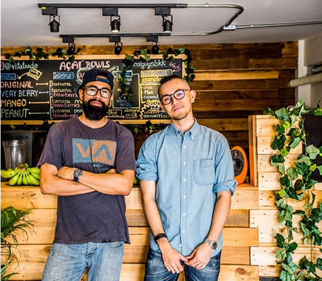 The smoothie bar's masterminds, Marcus and Bang