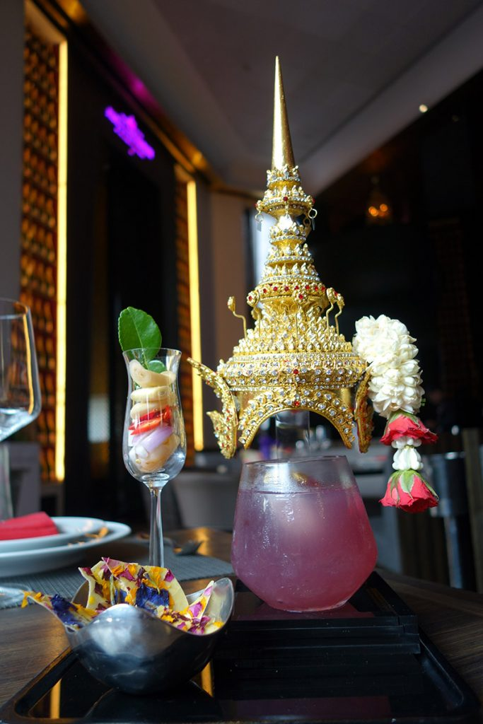 Thai-themed food and drinks served amid chada-inspired props