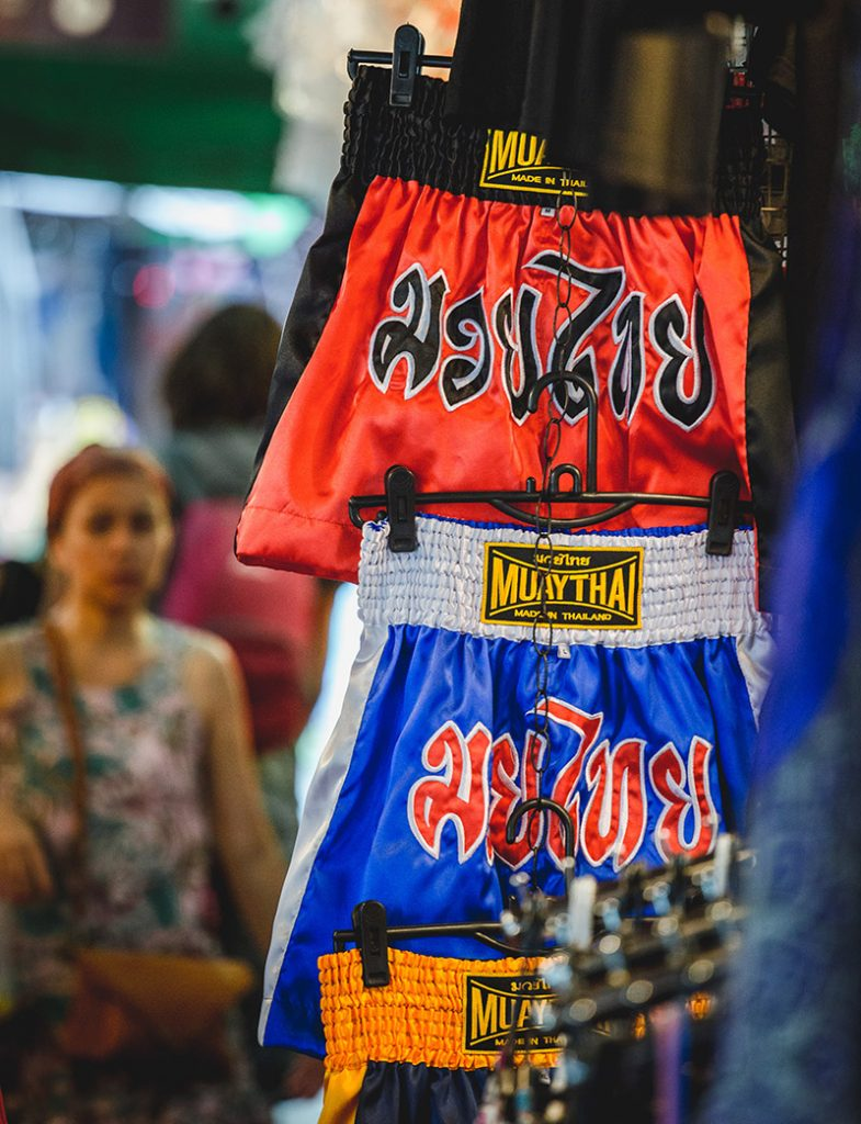 The iconic 'Muay Thai' boxing shorts, a must-buy item for all visiting tourists