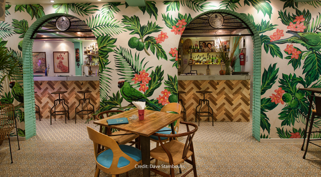 Tropic City: The Polynesian-themed tiki bar with parrots and flowers adorning the walls.